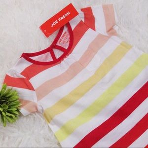 NWT Joe Fresh Red Color Striped Jersey Dress